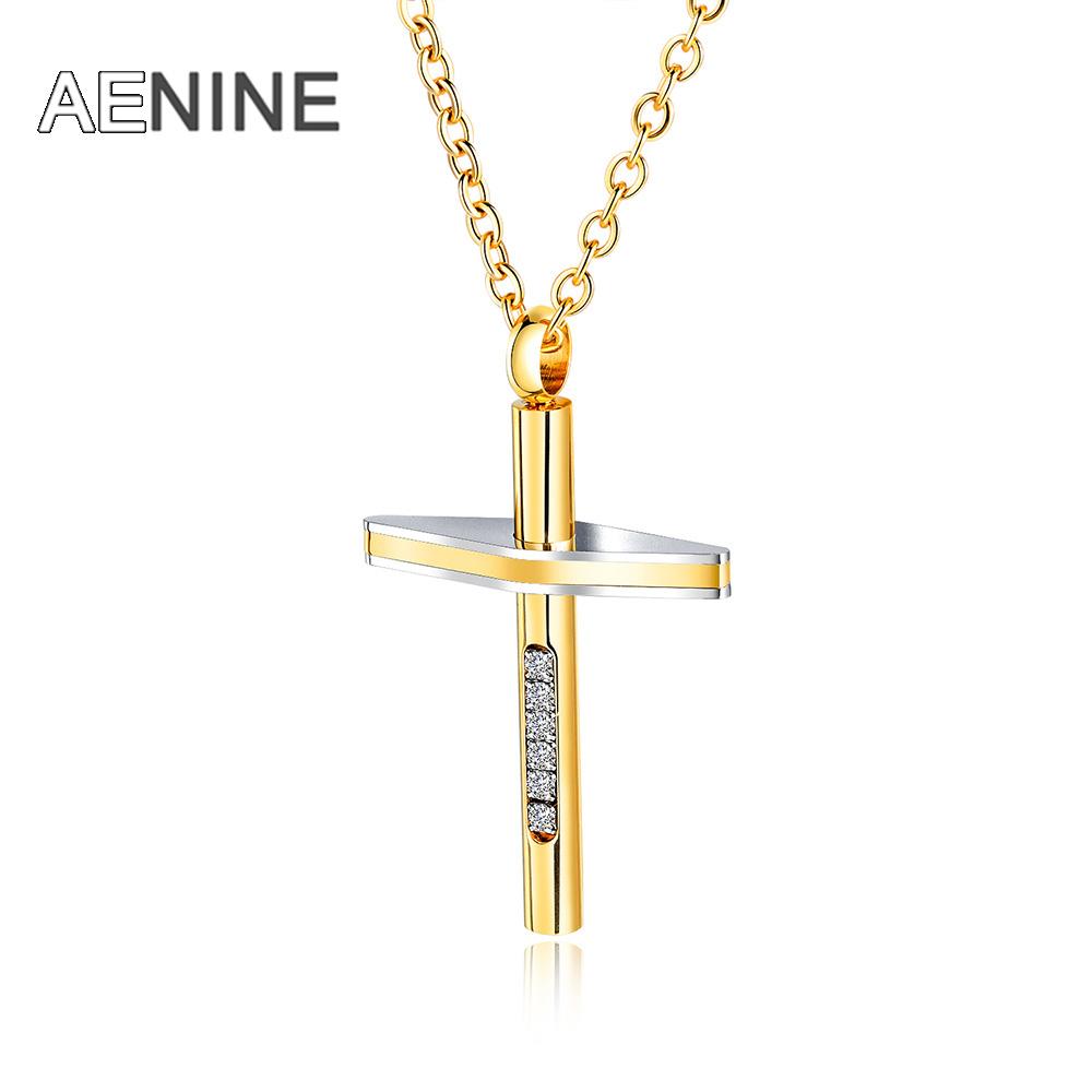UK/_ HOT Man Women Titanium Steel Cross Pendant Long Chain Necklace Jewelry Gift