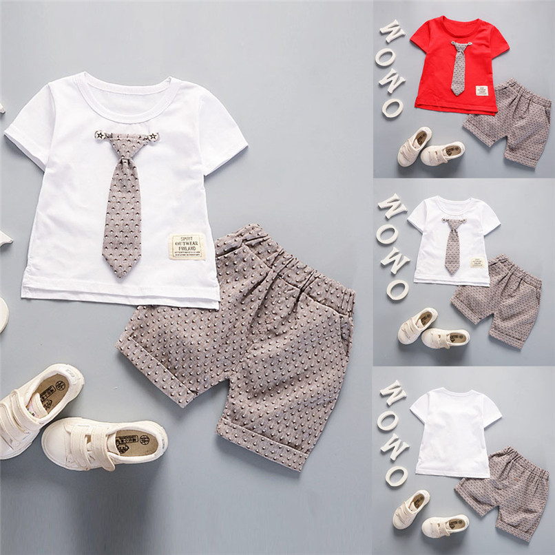 2Pcs Baby Sets Boy Toddler Kids Baby Boys Short Sleeve Solid Tie T-shirt Top+Print Pants Set Baby Boy Clothes Clothing M8Y18 (1)
