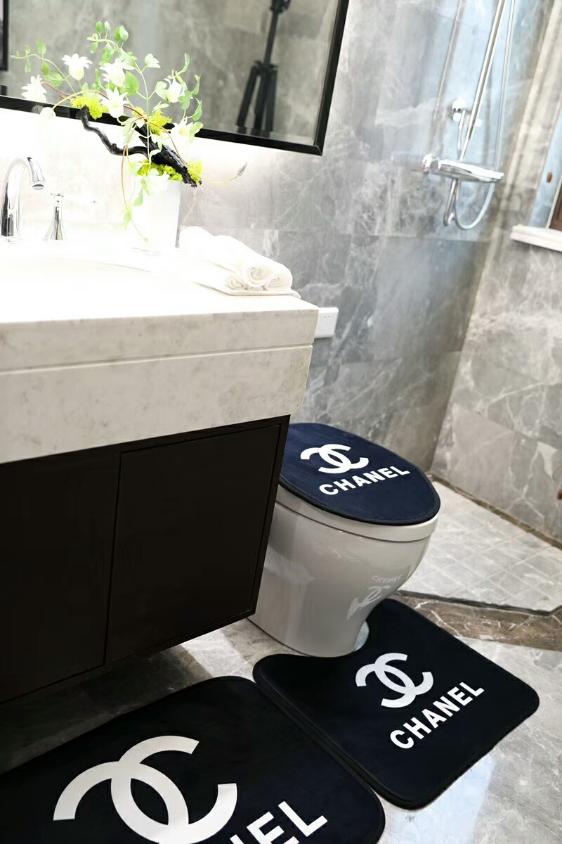 Toilette Salle de Bain D/écoration Pi/édestal Tapis 3 Pi/èces//Set Anti-d/érapant Cuvette de WC Housse Salle de Bain Tapis Velours Doux Tissu Bain Tapis de Sol Tapis de Bain
