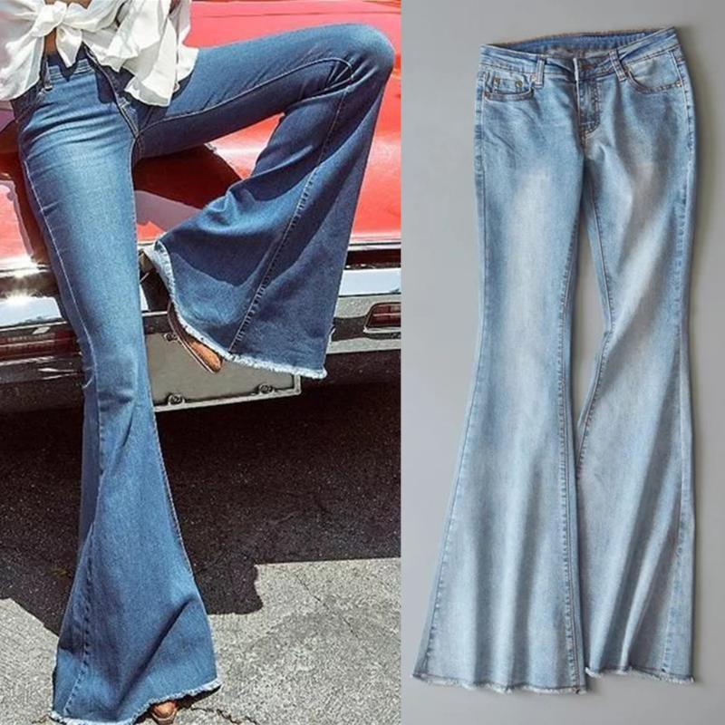 Women Autumn Elastic Plus Loose Denim Bow Bell Bottom Jeans