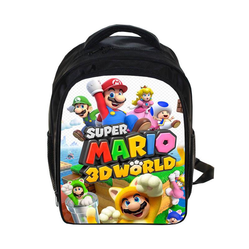13 Inch Cartoon Super Mario Bros Sonic Boom Kids Backpack Kindergarten School Bag Children Printing Backpack Girls Boys Mochila Y19061102