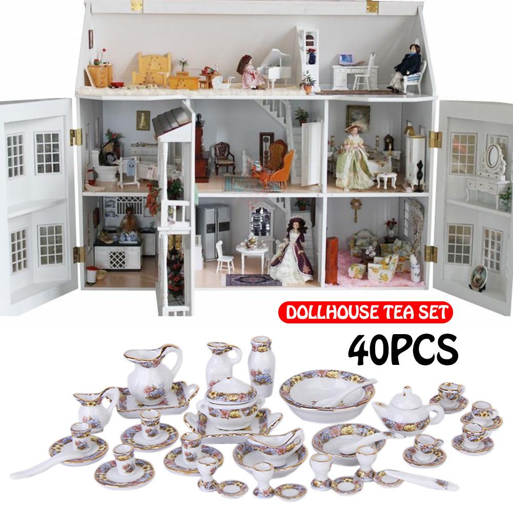 40 unids / set 1:12 Mini Casa de Muñecas Cubiertos Porcelana Juego de Té Platos Jugar Casa Juguetes Decoración de la Mesa En Casa Regalo Bonito Regalo J190713