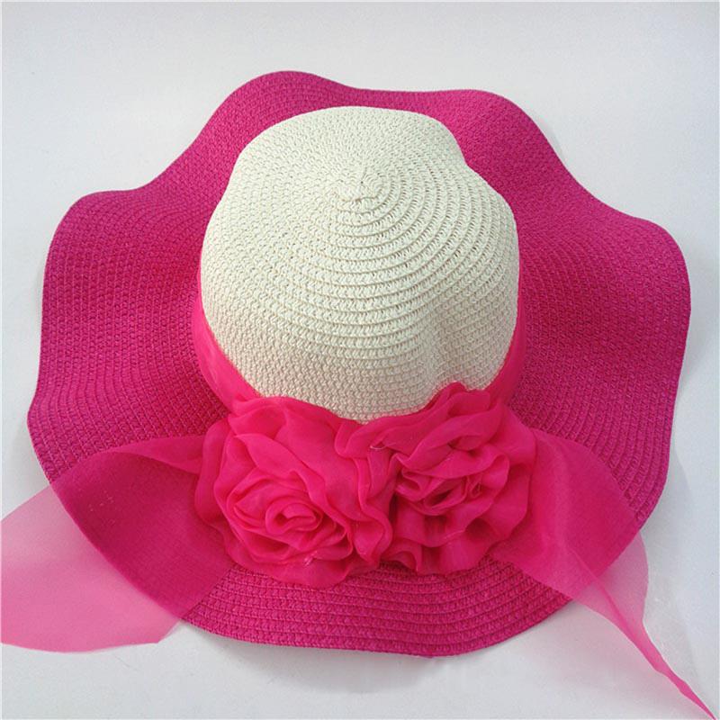 Fashion Straw Hat Flower Ribbon Summer Beach Wide Brim Fisherman Sunscreen Folding Hand Made Casual Wave Girls Hats CP0238 (10)