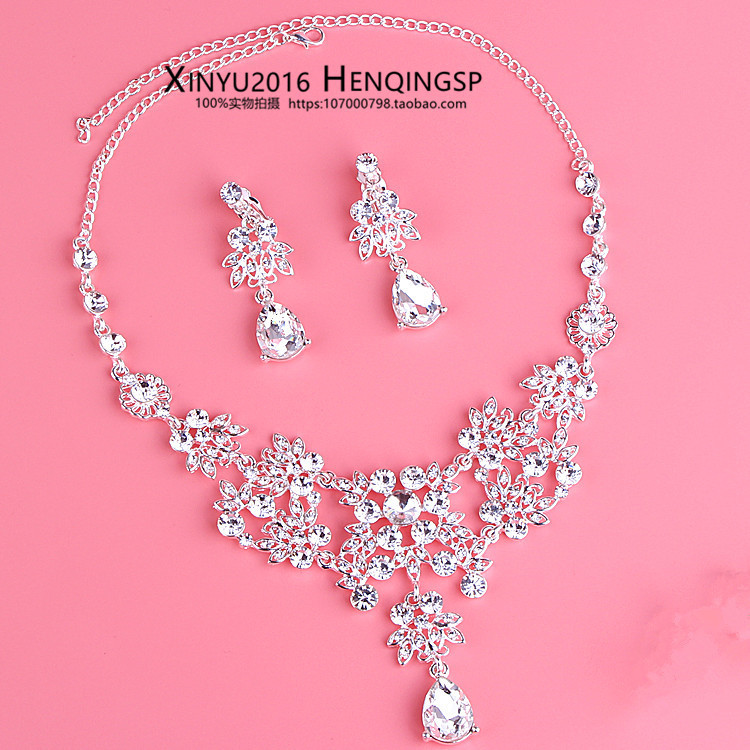 Rhinestone Jewelry Sets Necklace Pendant Tiaras Earrings For Women Pageant Wedding Crowns Bridal Hair Accessories (12)