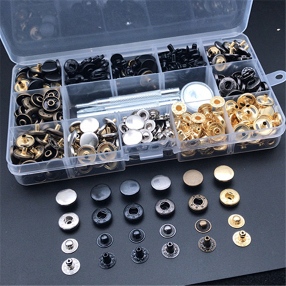 120 Sets Metal Snap Fasteners Press Stud Kit For Leather Craft Jacket Button