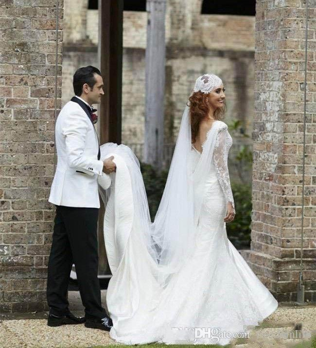 New Couture Indian Country Wedding Dresses 2017 Mermaid Sexy Deep V Neck Long Sleeves Sheer Fit And Flare FulL Lace Bridal Gowns