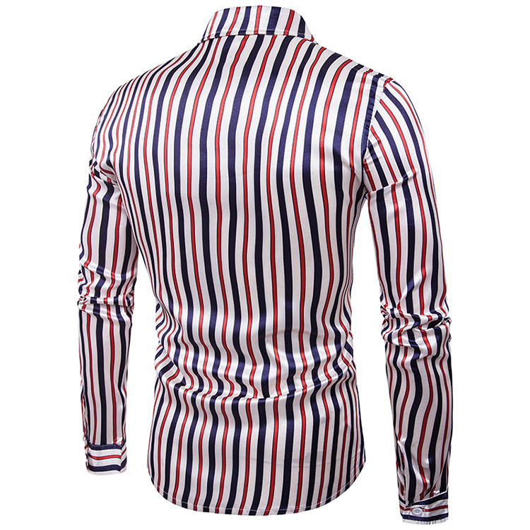 Night Club Shirt Type Personal Bright Face Vertical Stripe Hundred Sets Men's Leisure Collar Long Sleeve Shirts Q190518