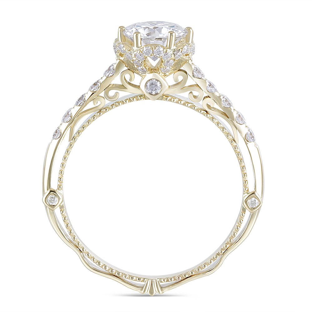 moissanite engagement ring 14k yellow gold 2019 vintage ring (2)