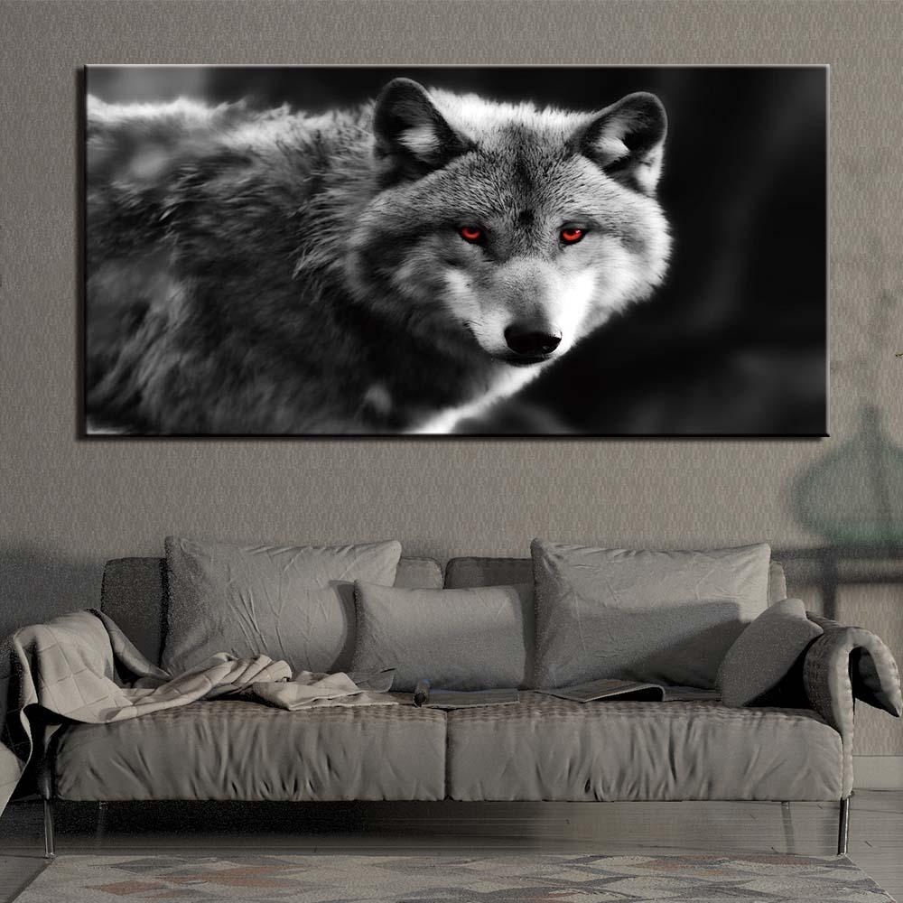 Animal Wolf lienzo Imagen Cartel Sala Dormitorio Decoración De Pared Super