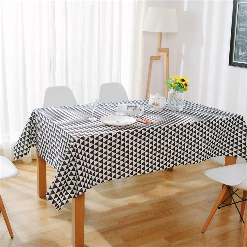 Nordic Modern Minimalist Style Black&White Triangular Pattern Tablecloth Simple Cotton&Linen Table Background Dustproof Cover