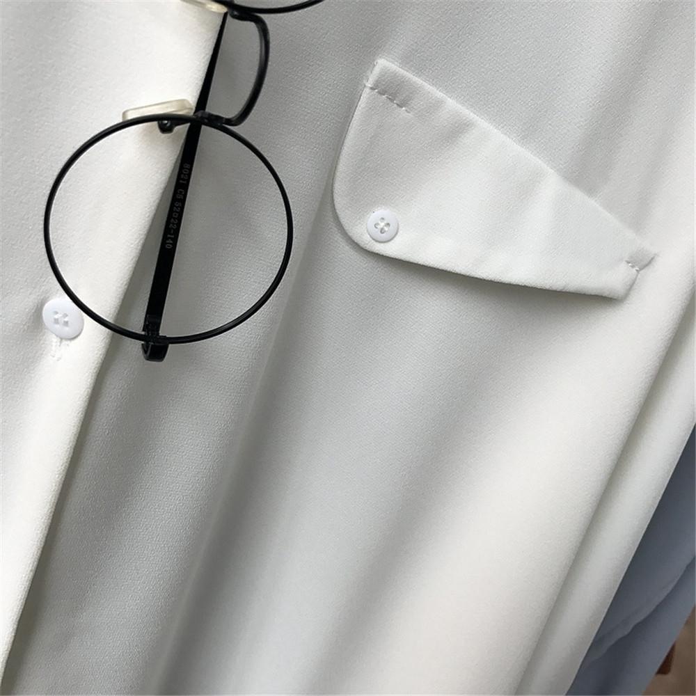 High quality Casual Chiffon white Women blouse shirt oversized Three Quarter sleeve loose shirt office wear casua tops blusas (11)