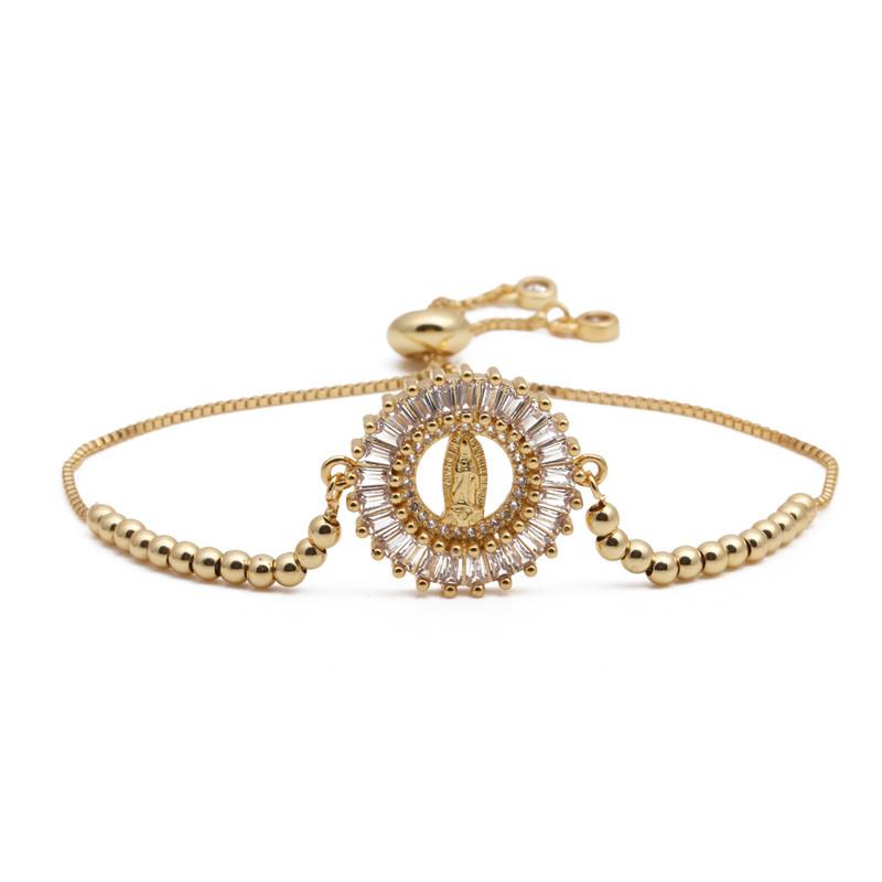 Classic Design Gold Color Blessed Virgin Mary Charm Bracelets For Women Girl Zirconia Bracelet Religious Jewelry