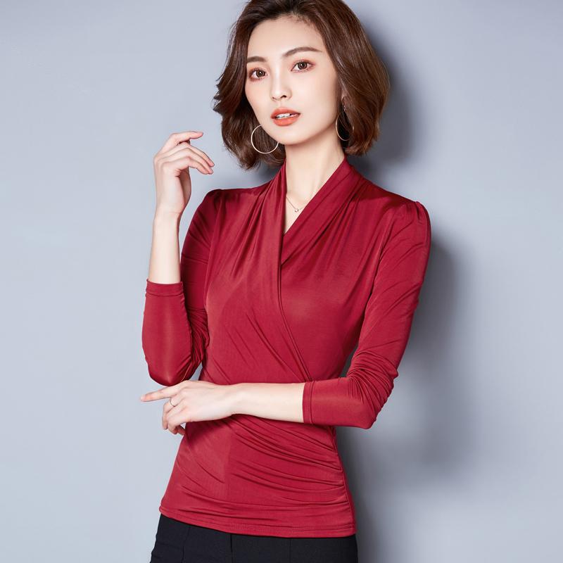 2018 Spring Summer Women Velour Slim Wrap Blouses Fashion Office Ladies Work Elegant Plus Size XXXL V Neck Shirt Female Tops