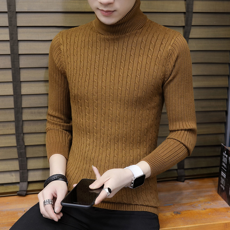 Mens Turtleneck Sweater Slim Knitted Pullover Thermal Solid Tops
