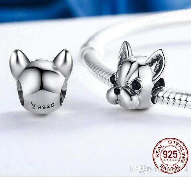 Real 925 Sterling Silver Charms Beads for Pandora Bracelets Dog Beads fit Charms Bracelet DIY Animal Jewellery Bulldog Accessories