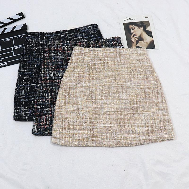 Kostenloser Versand Frühlingsmode Kleine Frische Stil Pailletten Tweed Bleistift Rock Hohe Taille Tasche Hüfte Rock Allgleiches Mini Rock