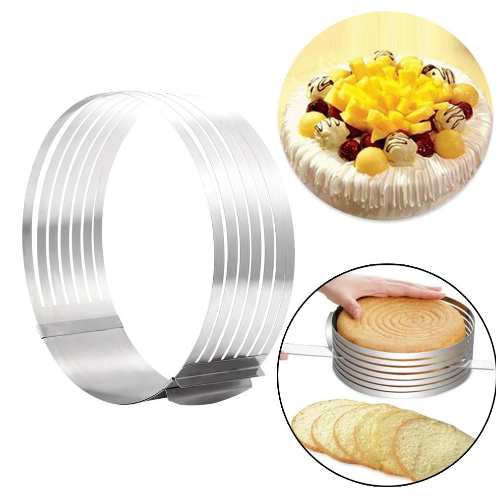 Regolabili-Strumenti-Bakeware-Torta-Strato-di-Taglio-In-Acciaio-Inox-A-Scomparsa-Cerchio-Mousse-muffa-Perfetta