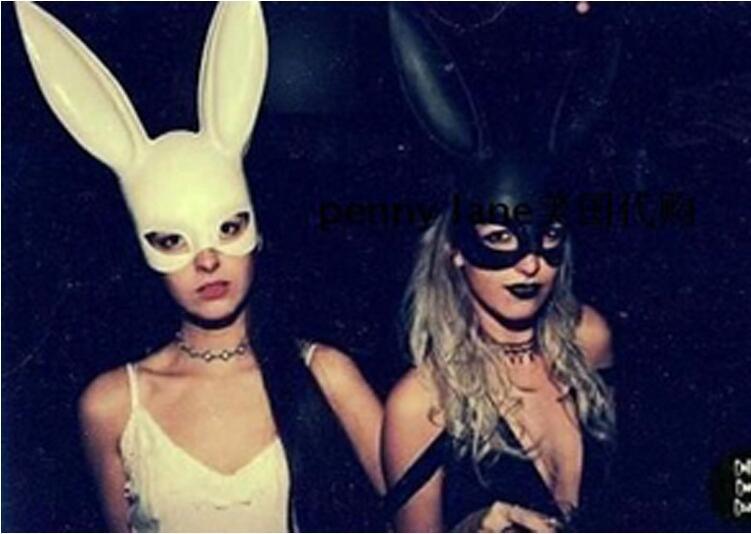 Bunny Girl Props Halloween Masquerade Rabbit Ears Mask Cosplay Costume Party
