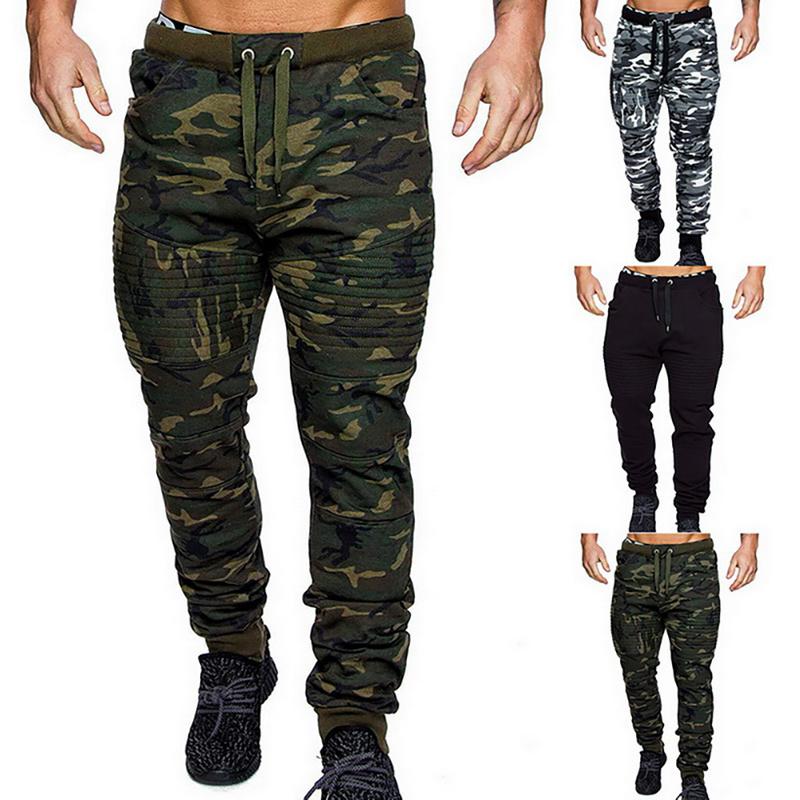 Men's Pants 2021 Mens Winter Warm Drawstring Closure Slim Fit Camo Jogger Gym Athletic Sweatpants Sports Harem Joggers
