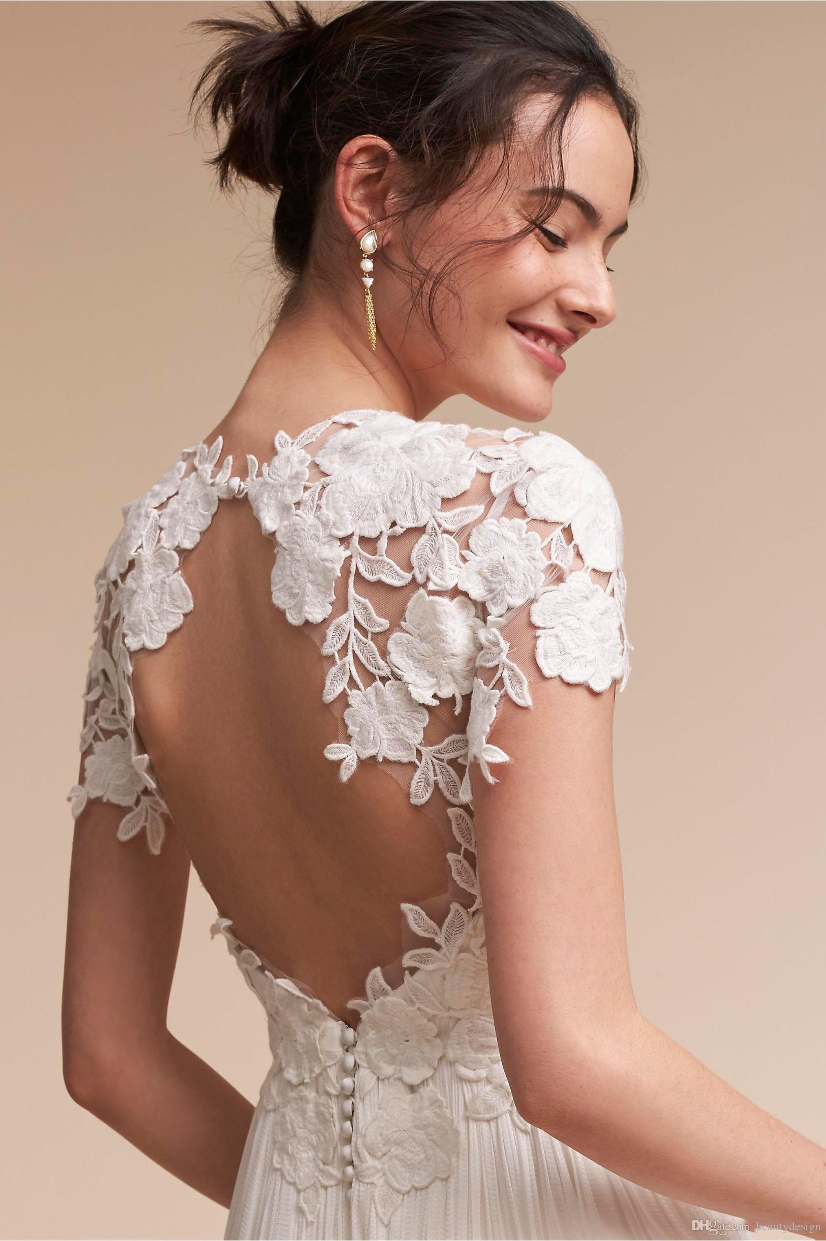2017 Simple Design Lace Cap Sleeves Wedding Dresses Empire Waist A Line Summer Beach Boho Bridal Gowns Floor Length Key Hole Backless