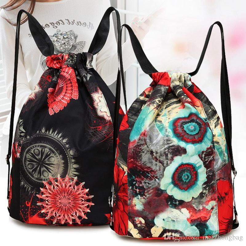 Nice Pop Women Backpack Drawstring Travel Bag Portable Foldable Outdoor Bag Luggage Oxford Waterproof Fashion Backpack