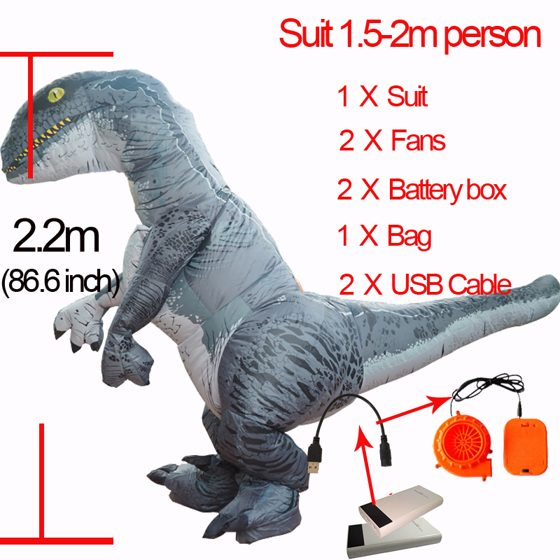 Jurassic World Adult Velociraptor Costume Cosplay Fantasy Inflatable T REX Raptor Dinosaur Party Halloween Costume for Women Men (2)