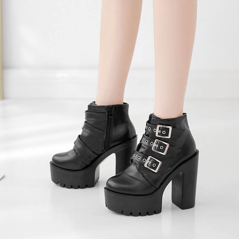 2019 Womens Buckle Punk Creepers Ankle Boots Goth Platform Wedge Belt Pumps New