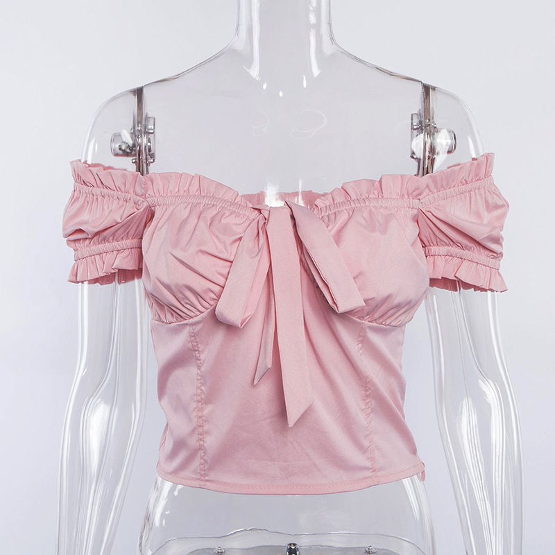 Sexy Ruffles Off Shoulder T-shirts Women Bow Tie Puff Sleeve Crop Top 2019 Summer Female Streetwear T Shirt White Cropped Tops C19040801