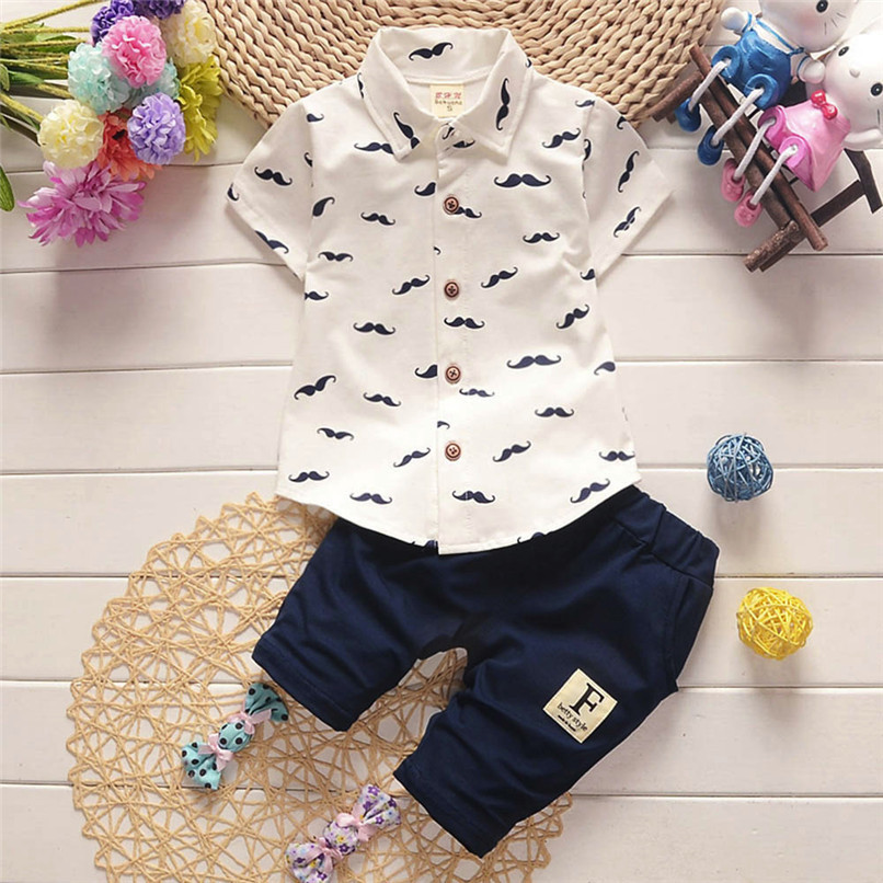 2PCS Baby Clothes Toddler Kids Baby Boys Short Sleeve Beard Print T-Shirt Tops+Letter Shorts Pants Set Boy Sets Clothes M8Y30#F (1)
