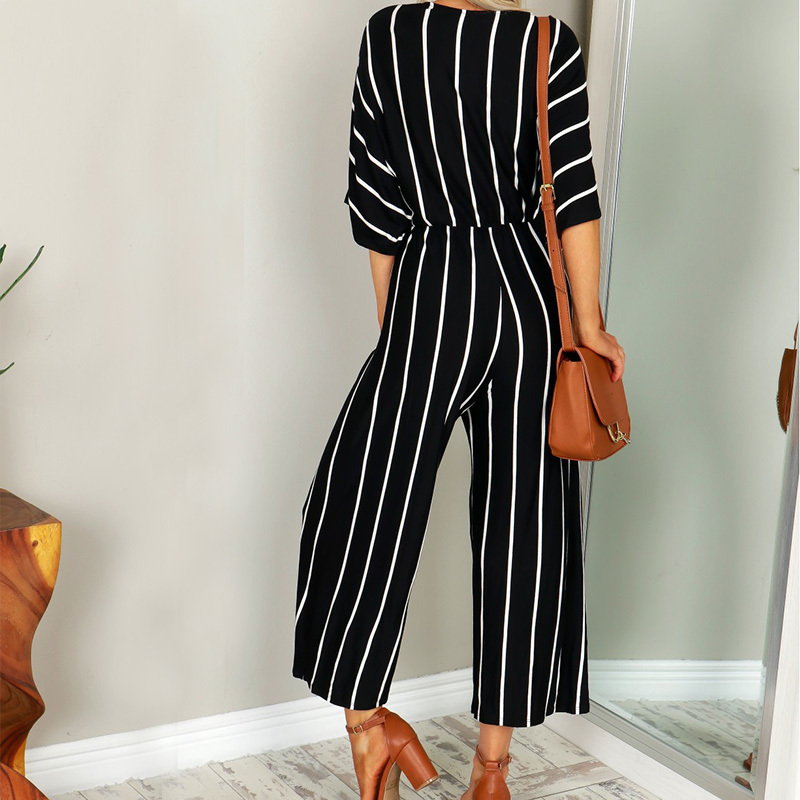 Zanzea Summer Elegant Women Striped Jumpsuits Ol Work Wide Leg Pants Casual Deep V-neck Short Sleeve Loose Rompers Q190507
