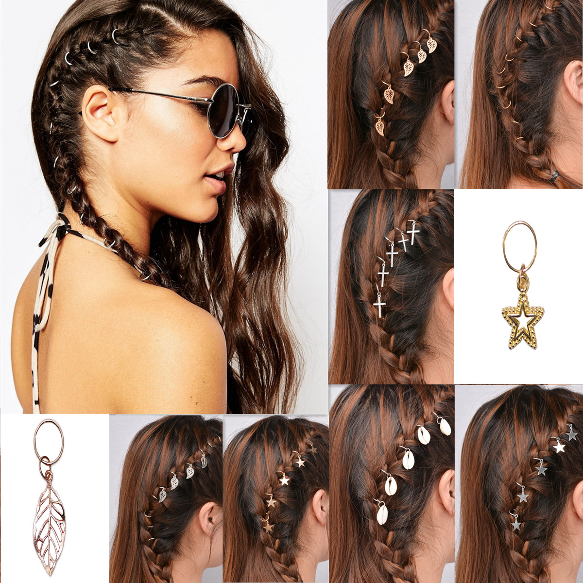 100pcs//set Hair Rings Braid Rings Hair Loop Clips Hair Accessories DIY N X