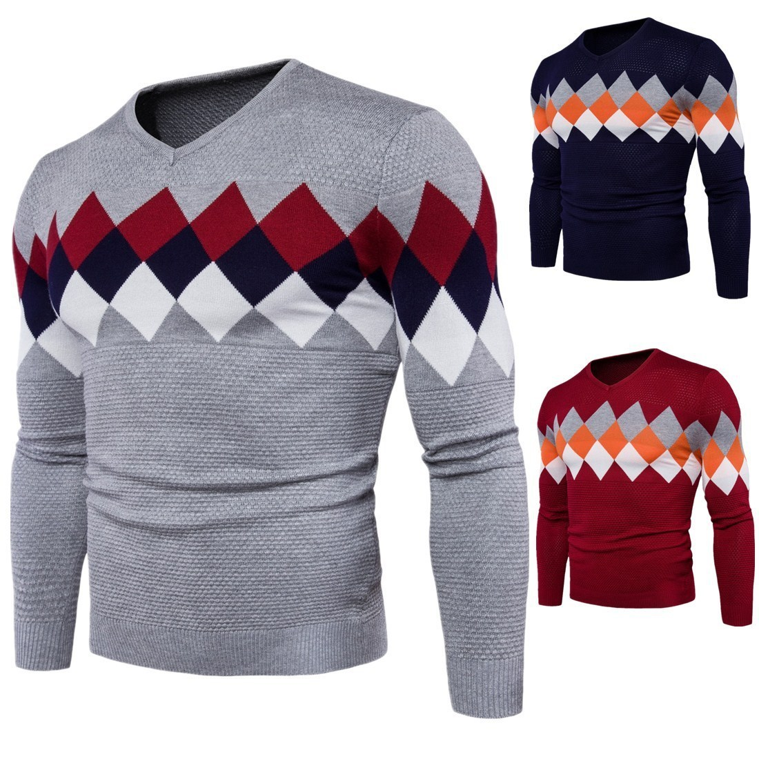 Sweater Pullover Men 2019 Male Brand Casual Slim Sweaters Men V-necked Checkered Pattern Hedging Zipper Men's Sweater