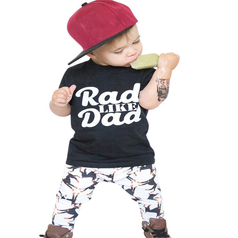 2Pcs Summer Boys Sets Toddler Baby Kids Boy Short Sleeve Letter Print Tops T-Shirt+Dog Print Pants Set Clothes M8Y06 (2)