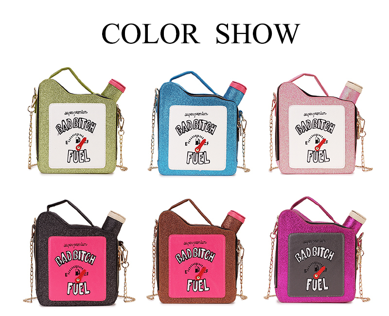 Fashion Fun Personality Embroidery Letters Gasoline Bottle Shape Chain Purse Handbag Shoulder Bag Ladies Purse Mesenger Bag Flap MX190726