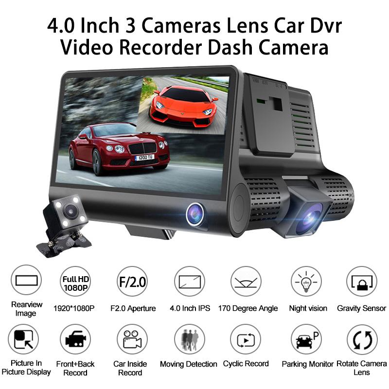 "4.0/"" 1080P Dual Lens IPS HD Car DVR Rearview Dash Cam Recorder Camera G-sensor"