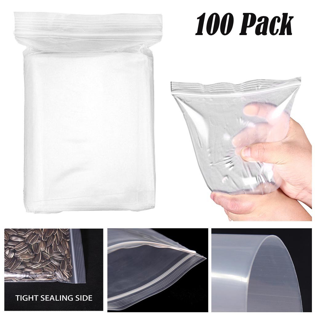 Baggies 5 cm x 5 cm Clear See Thru Auto-Adhésive Plastique Poly Grip Zip Sac No Motif