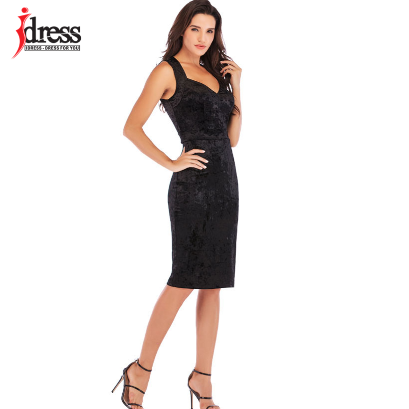 IDress New Sexy Velvet Club Dress Sleeveless V Neck Sexy Knee Length Autumn Dress Women Sheath Pencil Midi Bodycon Party Dresses (3)