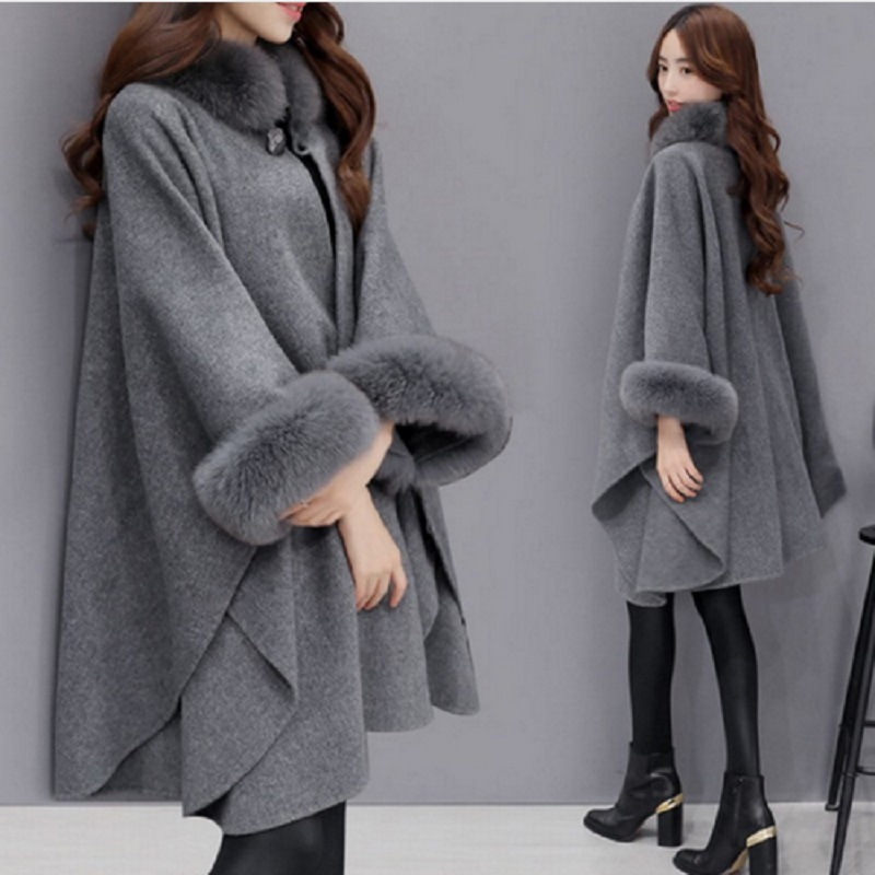 Nerz Pelz Kaschmir Wolle Poncho Mantel Jacke Cape Loose Schal Kapuze Outwear