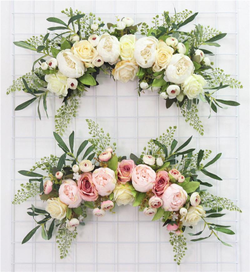 European Artificial Wreath Door Threshold Flower Diy Wedding Home Living Room Party Pendant Decor Christmas Garland Gift Rose T8190626