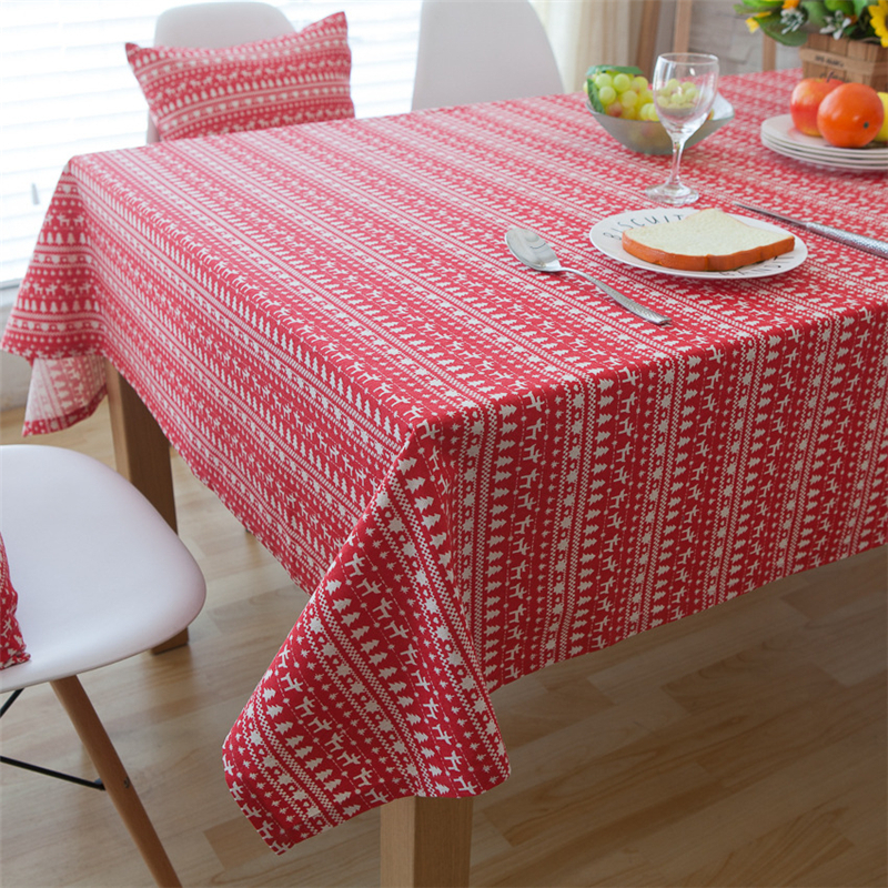 Christmas Style Deer&Tree Pattern Red Tablecloth Pastoral Stripes Cotton&Linen Decorative Table&Cabinet Dustproof Cover For Bar