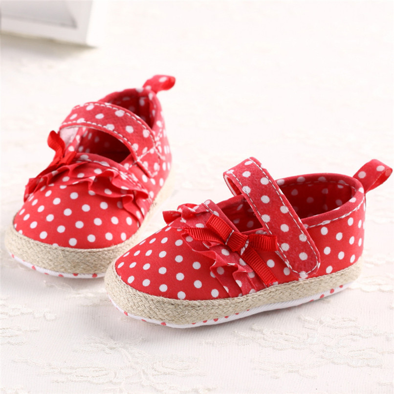 Baby Girls Shoes Fashion Newborn Infant Baby Girls Canvas Polka Dot Bowknot Shoes Soft Sole Anti-slip First Walker M8Y04 (4)