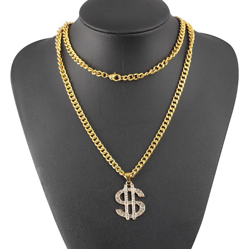 Collier Charms Pendentif Forme de Signe du Dollar Bijou Cadeau Bijoux Chaîne