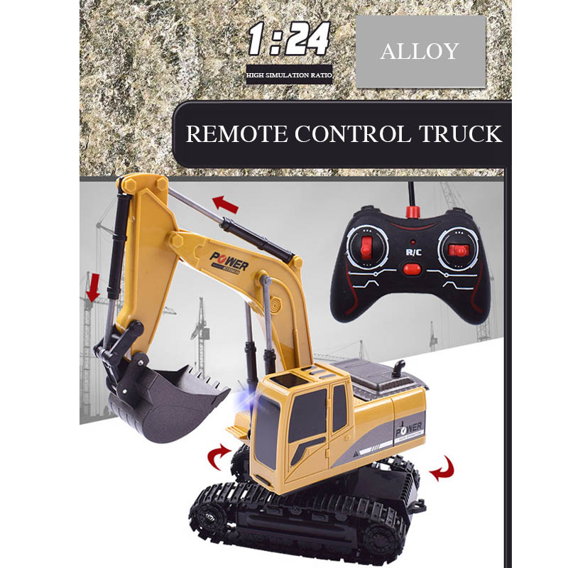 Stimulation RC Excavator Toy with Music Light Children Boy RC Engineer Car Tractor Alloy Electronic Crawler Truck for Kids Gift
