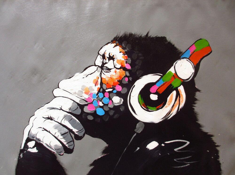 Framed Canvas BANKSY Street Art  Follow dreams monkey  print painting wall decor