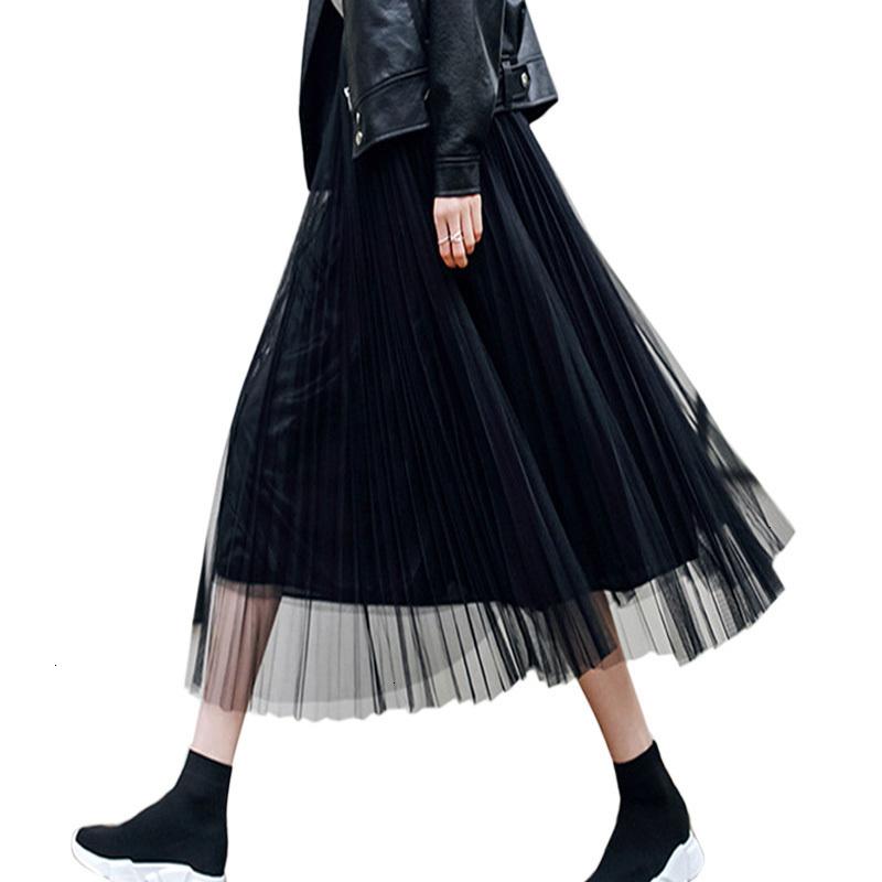 Femmes taille haute à volants Mesh Tutu Jupe Filet Transparente Tulle Plissé Maxi Robe de soirée