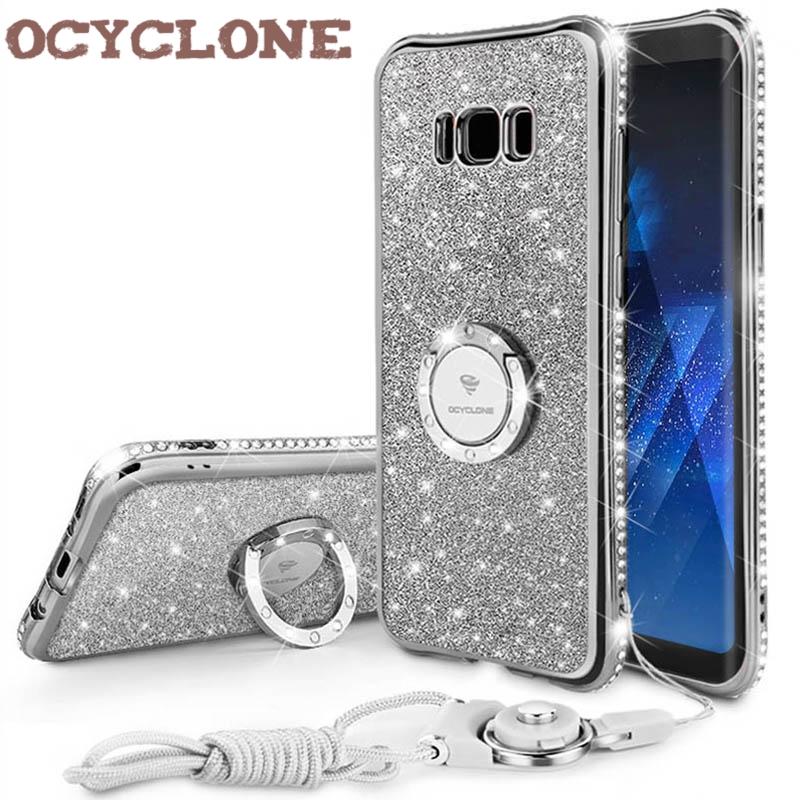 Funda RingDiamond para Samsung Galaxy S8 S8 Plus Funda para Samsung Note 8 Funda Bling para Galaxy S8 + Funda Glitter Purple