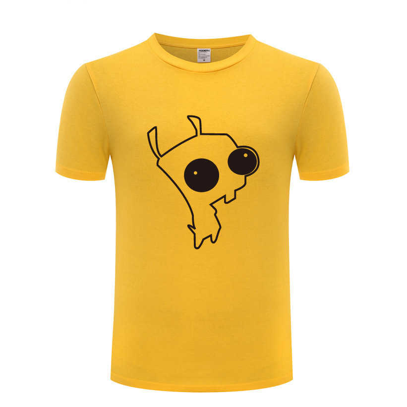 Creative Men's 100% Cotton Short Sleeve Tees Invader Zim Dog Gir T Shirt Top Punk Style Rock Man Male Loose Tops Brand