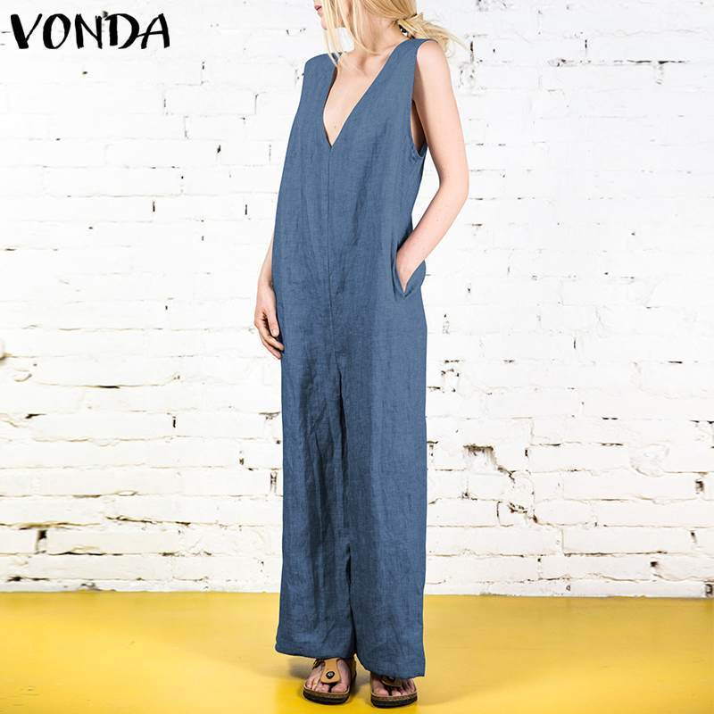 Vonda 2019 Summer Women Vintage Jumpsuits Rompers Sexy V Neck Sleeveless Long Playsuit Casual Loose Solid Overalls Plus Size 5xl Y19062201