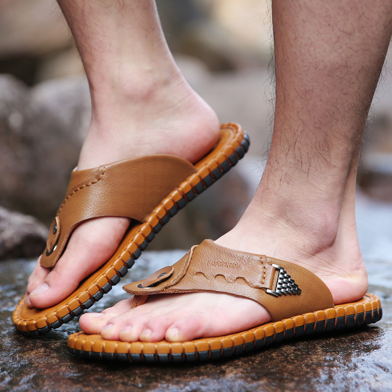 Old A Head Male Slipper Pinch Flip Flops Non-slip Beach Shoes Leisure Time Sandals Male Shoe Genuine Leather