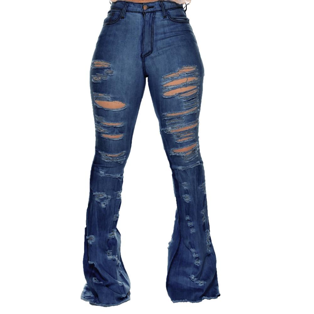 New Design fashion women Blue Color Jean Boot Cut Pants Casual Street Lady Long Denim Pants Sexy Club Wide Leg Jeans (8)